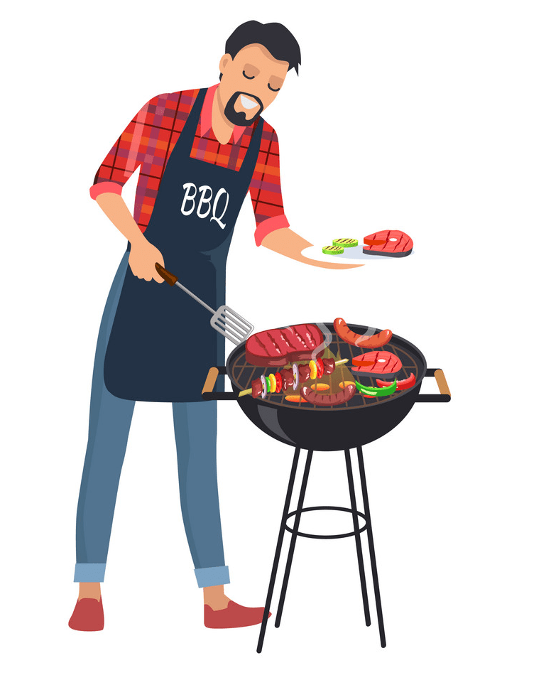 barbecue and man with plate png