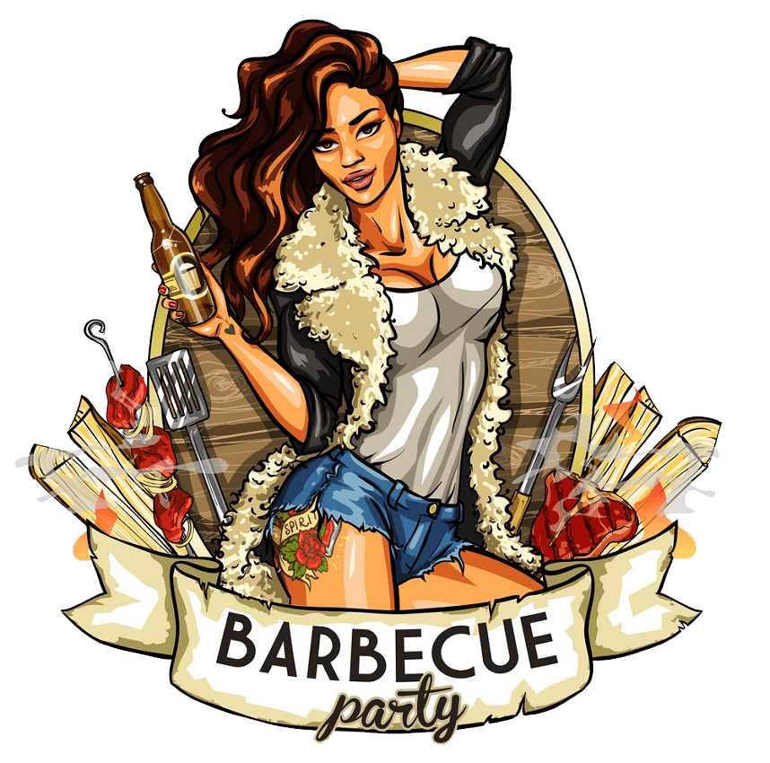barbecue label with pretty woman png transparent