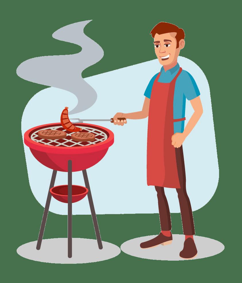 bbq cooking man png transparent