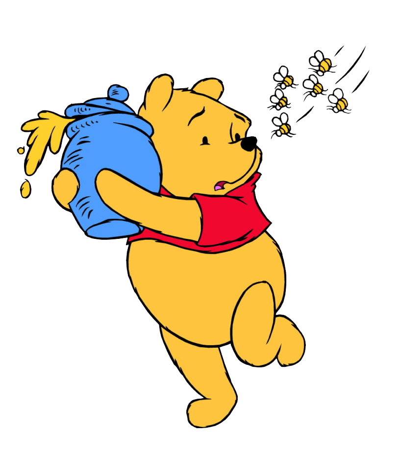 bees chasing pooh transparent