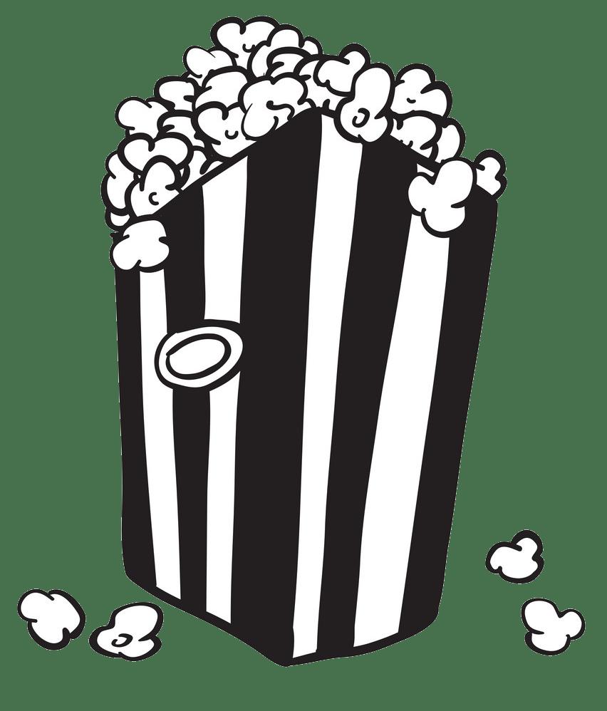 black and white bag of popcorn png transparent