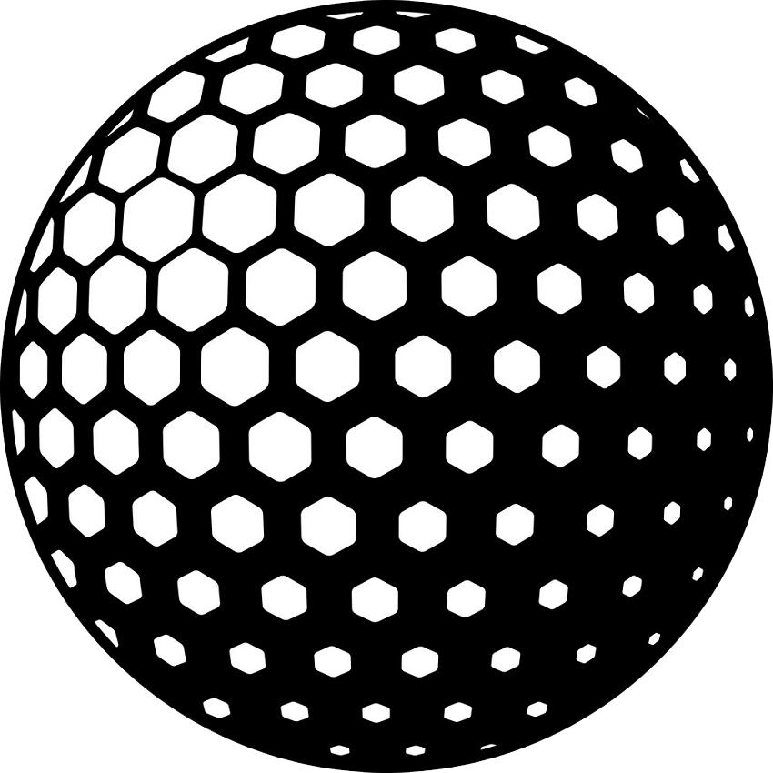 black and white golf ball png transparent
