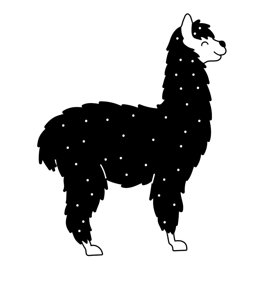 black and white llama png transparent