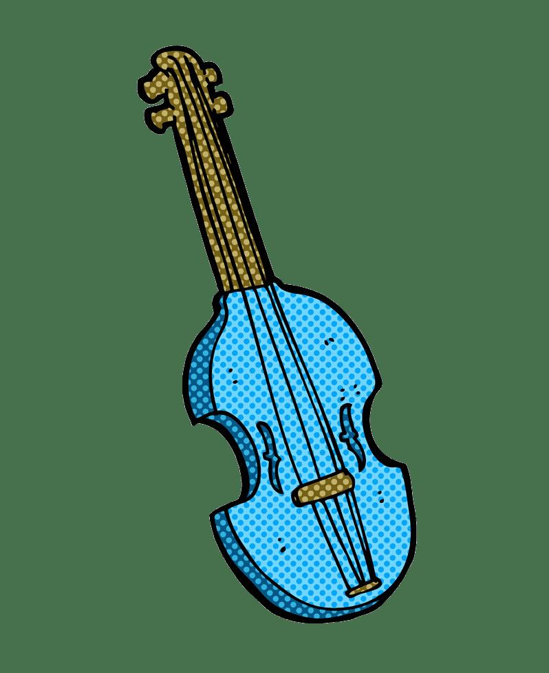 blue comic violin png transparent