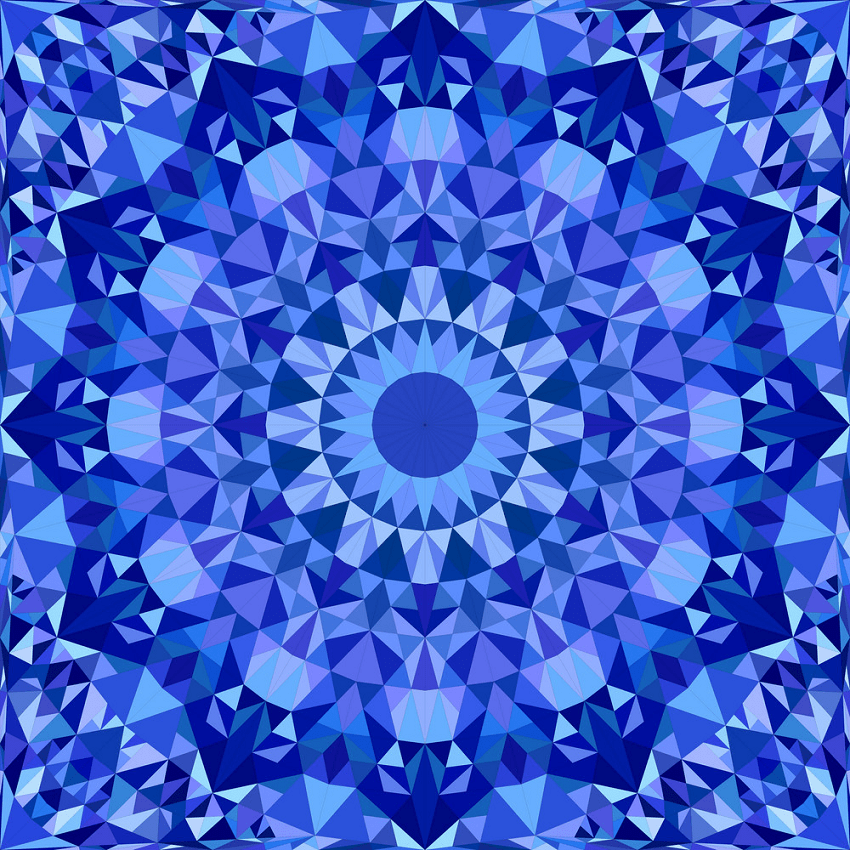 blue repeating kaleidoscope pattern png