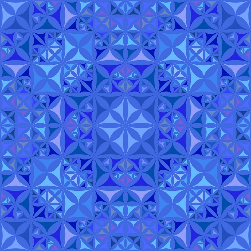 blue repeating kaleidoscope pattern
