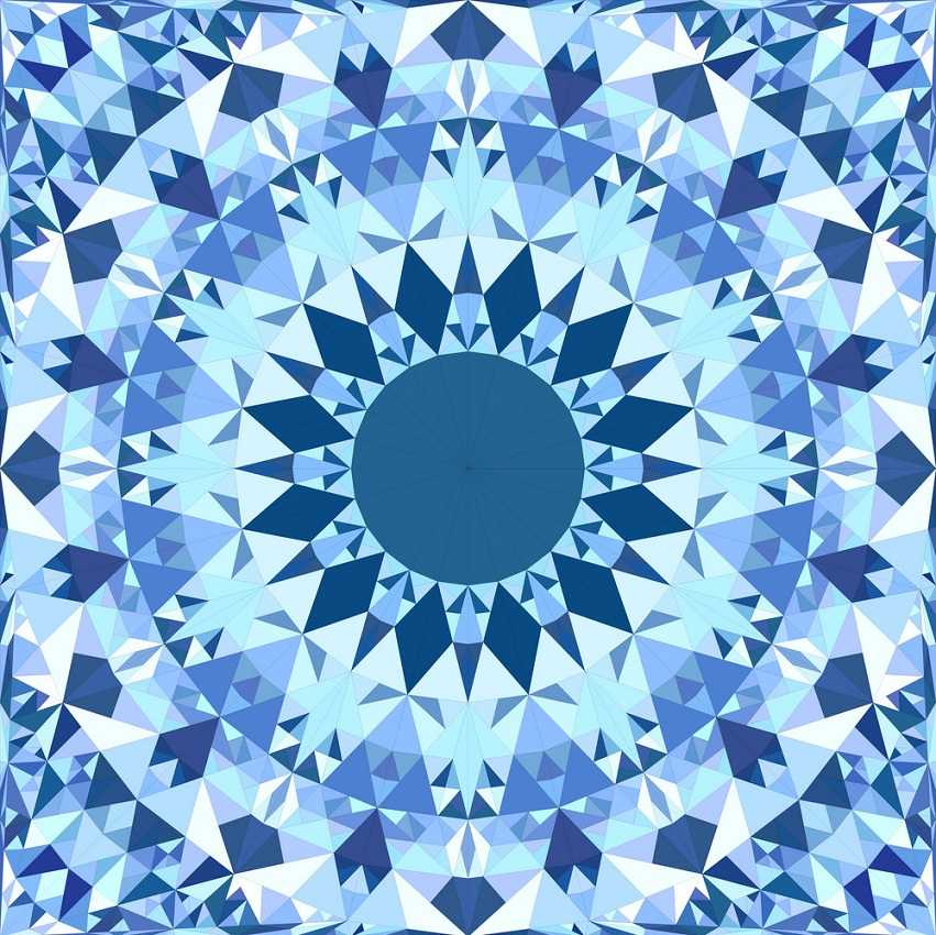 blue seamless kaleidoscope pattern