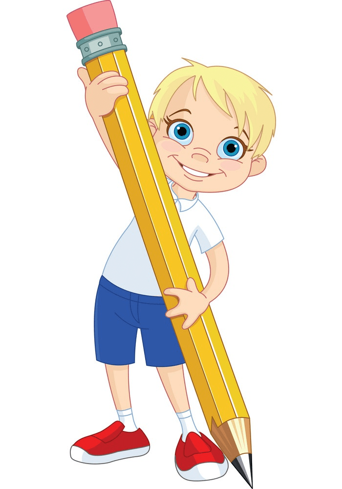 boy holding giant pencil png