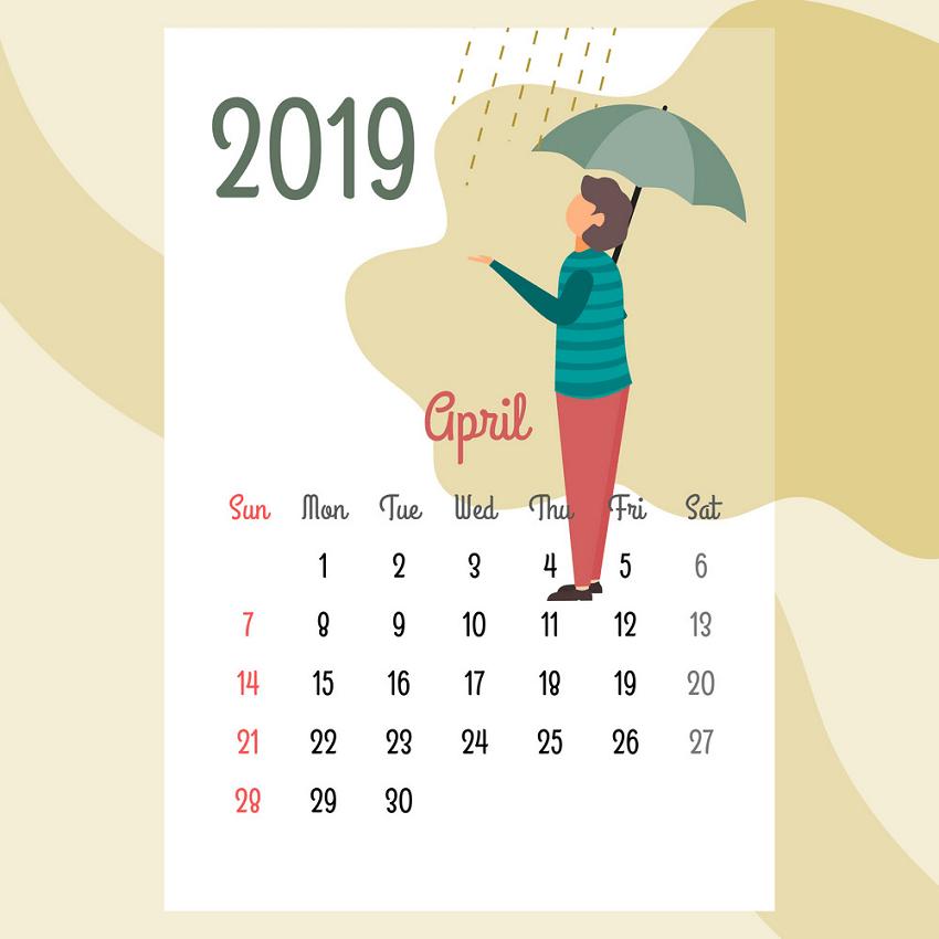 calendar 2019 april png