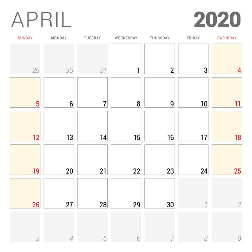 calendar planner for april 2020 png