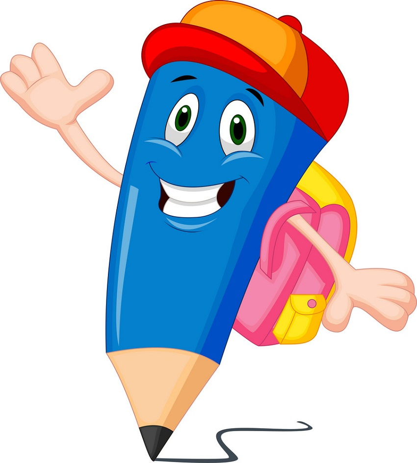 cartoon blue pencil with backpack