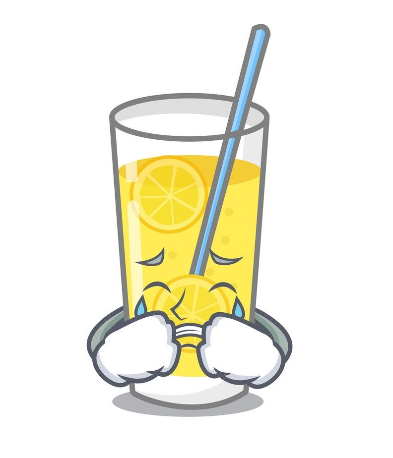cartoon lemonade glass crying