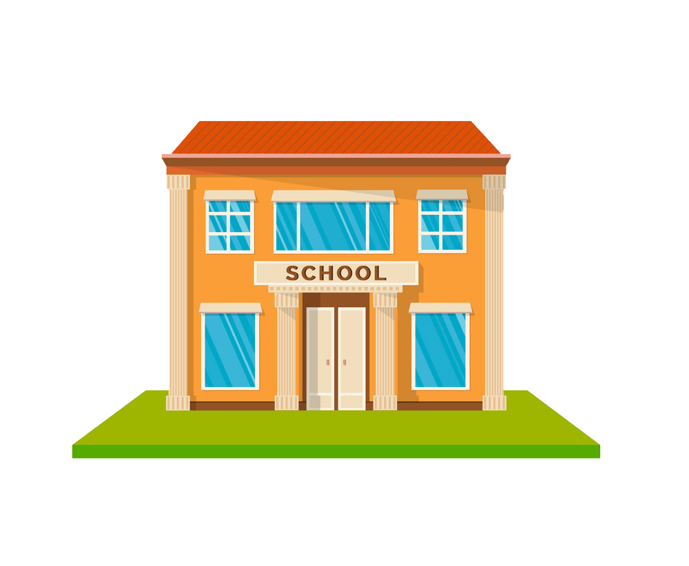 cartoon school building png trasnparent