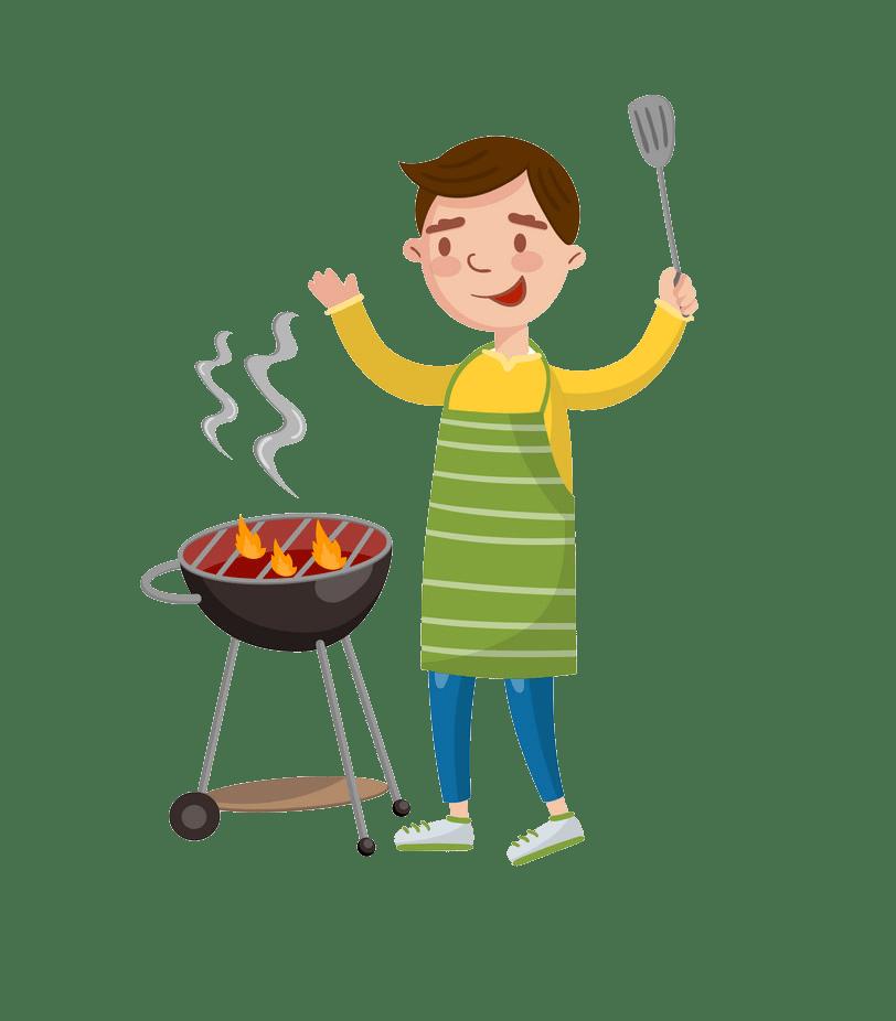 cheerful man preparing barbecue png transparent
