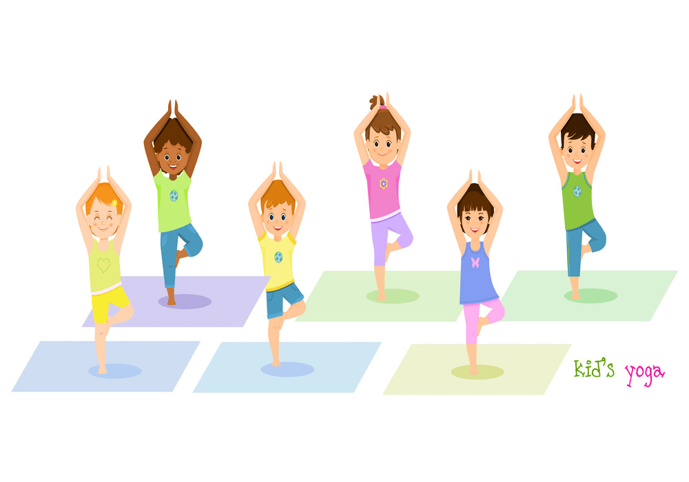 children doing yoga png