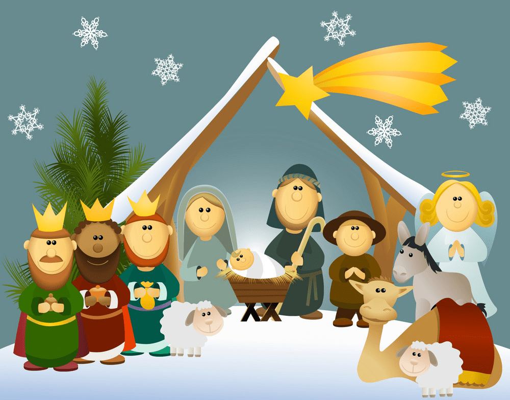 christmas nativity scene with holy family png