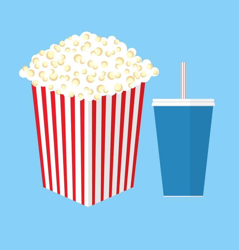 cinema popcorn on blue background png