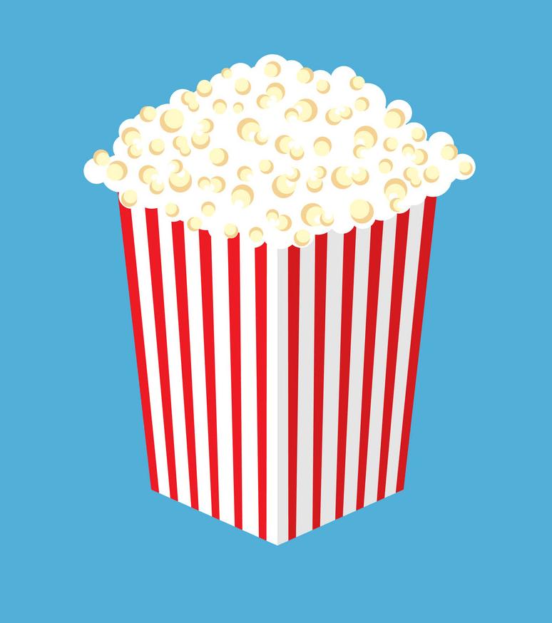 cinema popcorn on blue background