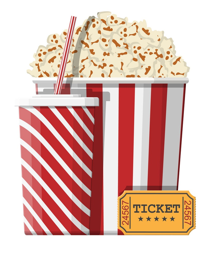 cinema popcorn with drink and ticket