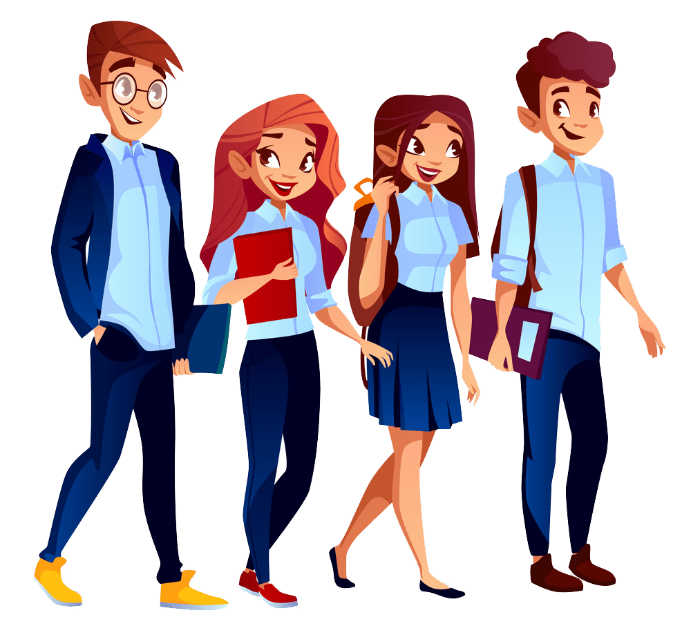 college students in university clothing png transparent