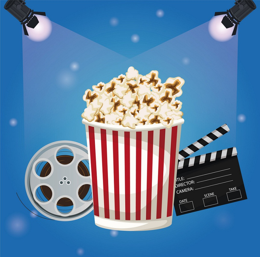 color background spotlights with popcorn