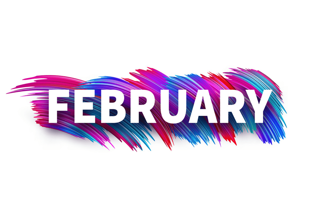 colorful brush strokes february banner png