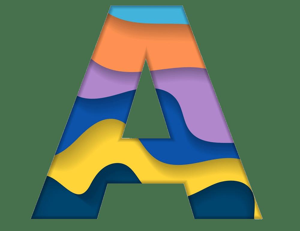 colorful letter a png transparent