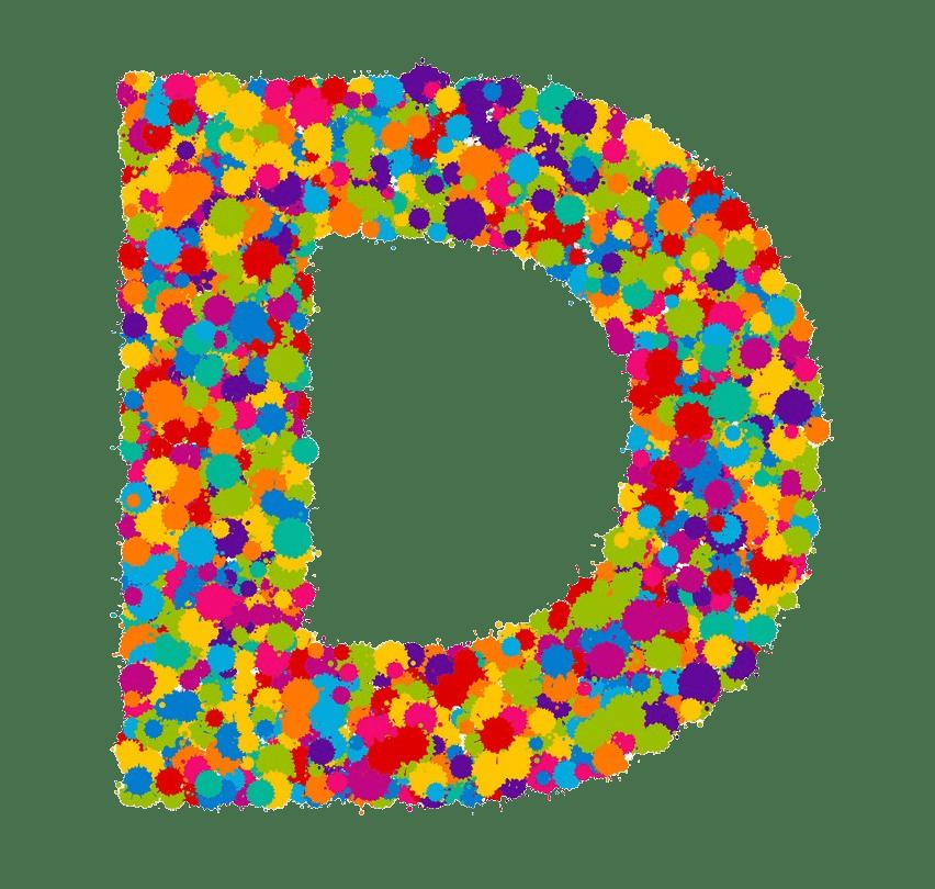 colorful letter d paint splashes png transparent
