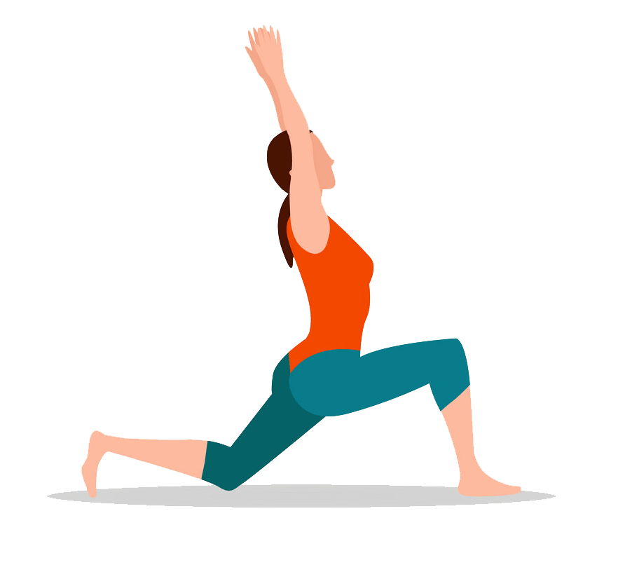crescenet lunge pose of yoga png transparent