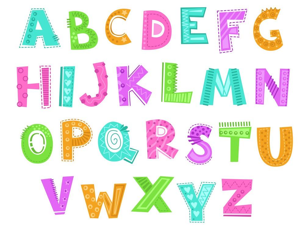 cute decorative funny childish alphabet