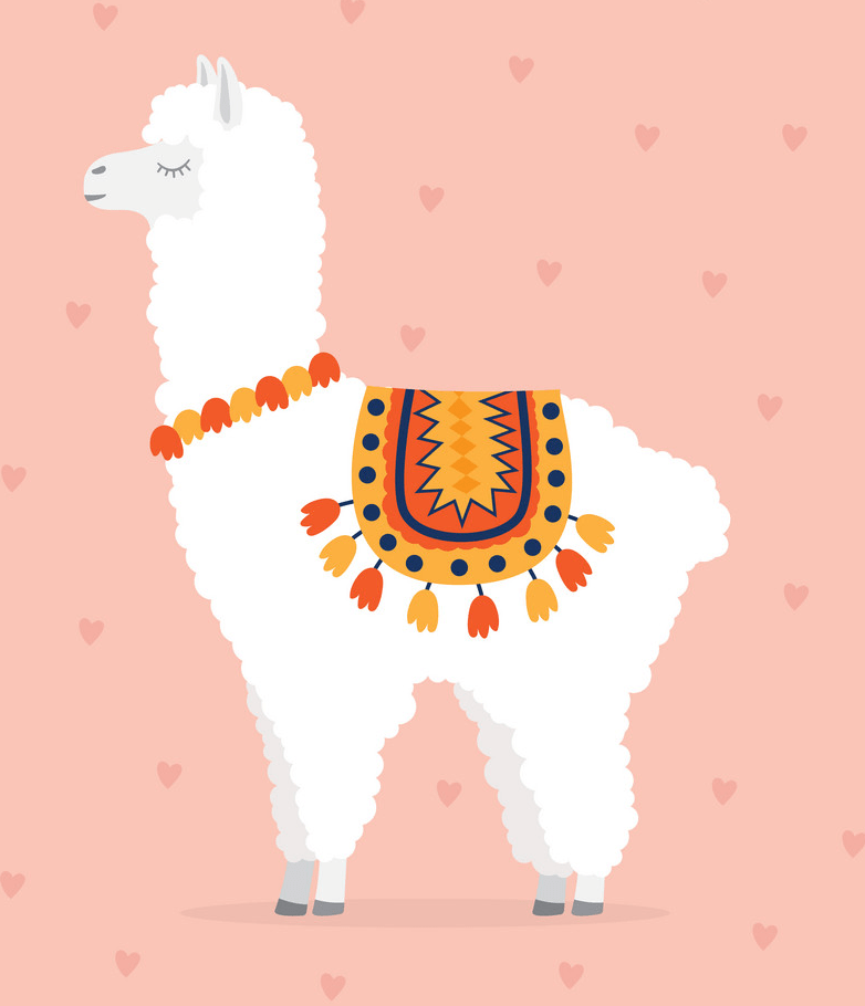 cute llama on pink and hearts background png