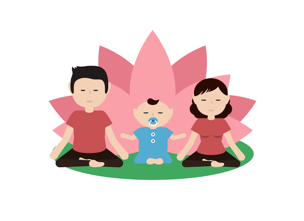 family practicing yoga png transparent