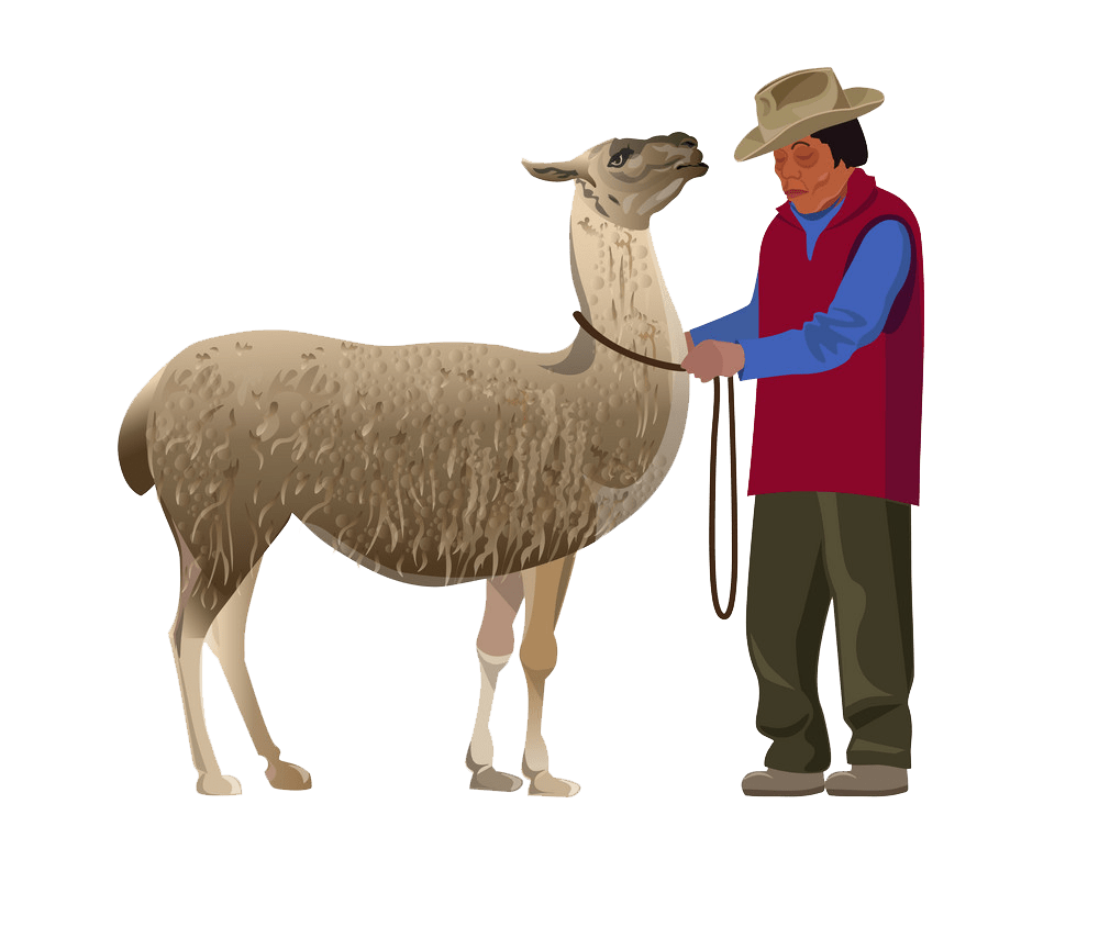 farmer with llama png transparent