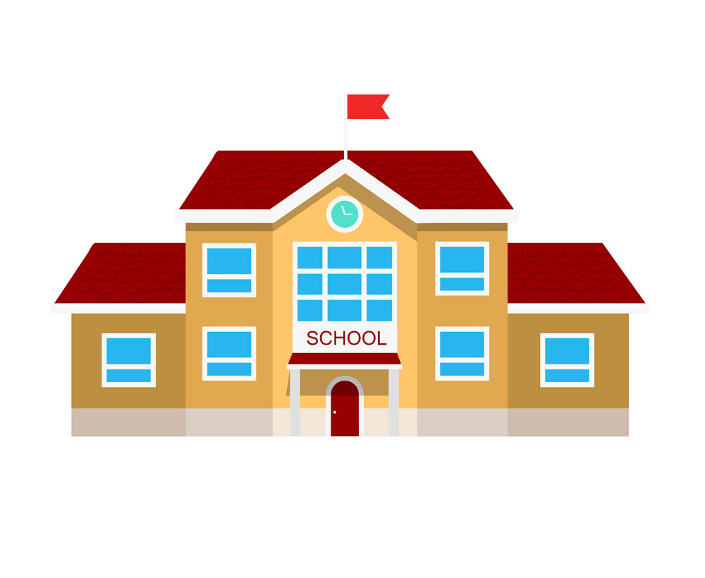 flat design of school building png