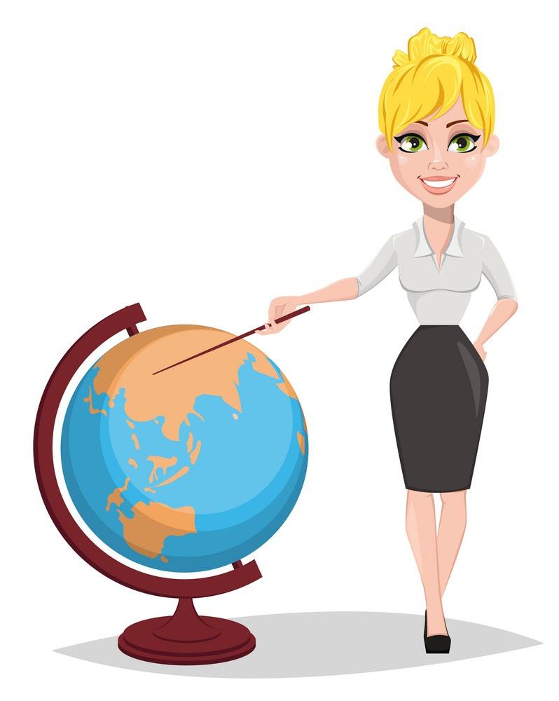 geography teacher with globe