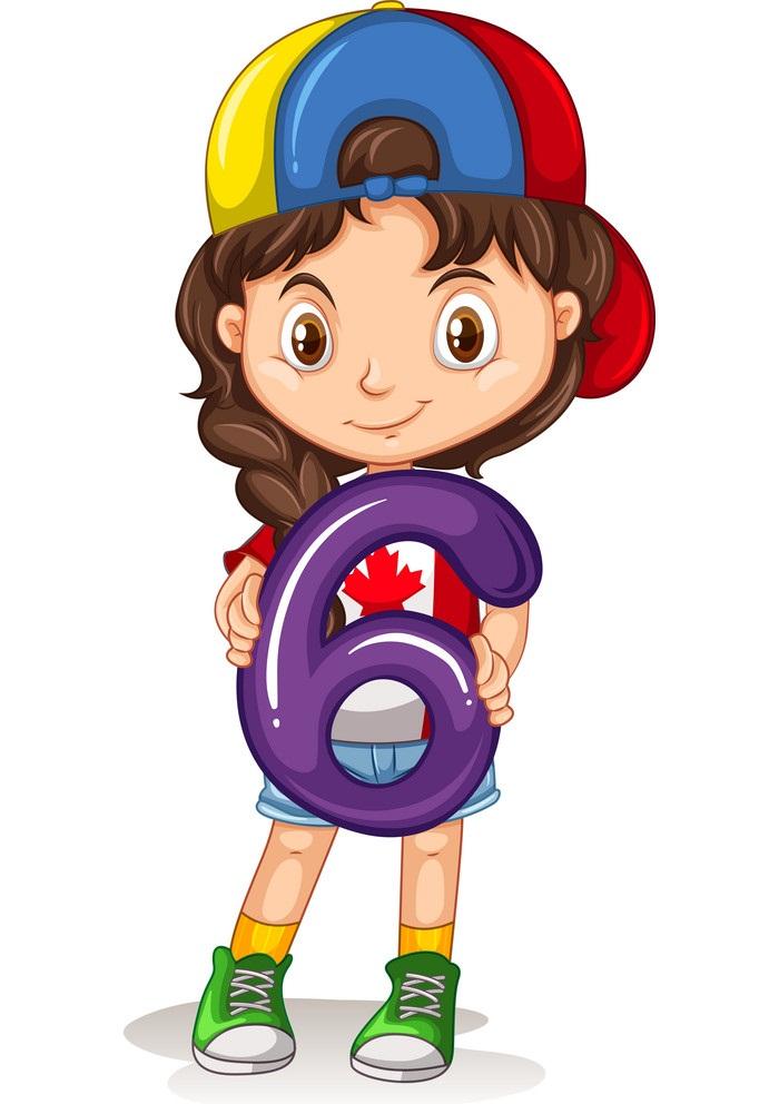 girl holding number 6
