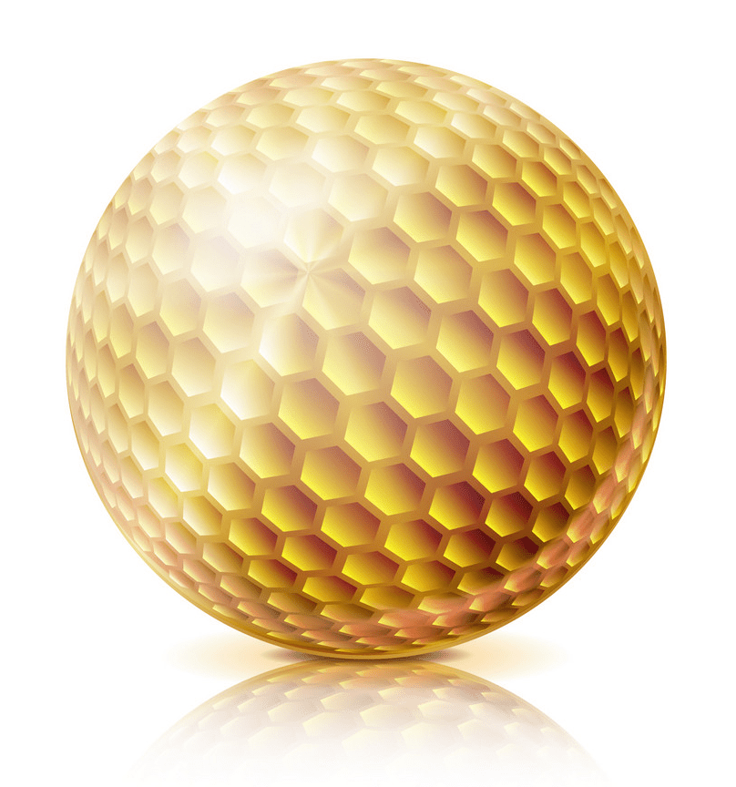 gold golf ball 3d realistic png