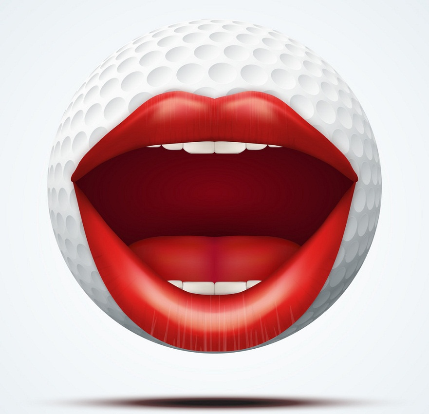 golf ball with a talking female mouth
