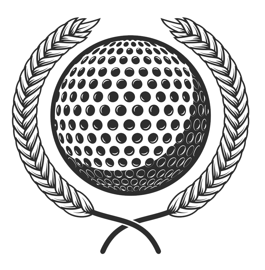 golf ball with laurel wreath design png transparent