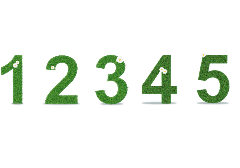 grass numbers 1-5 png