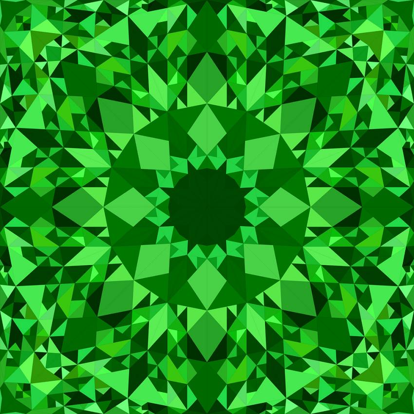green seamless kaleidoscope pattern png