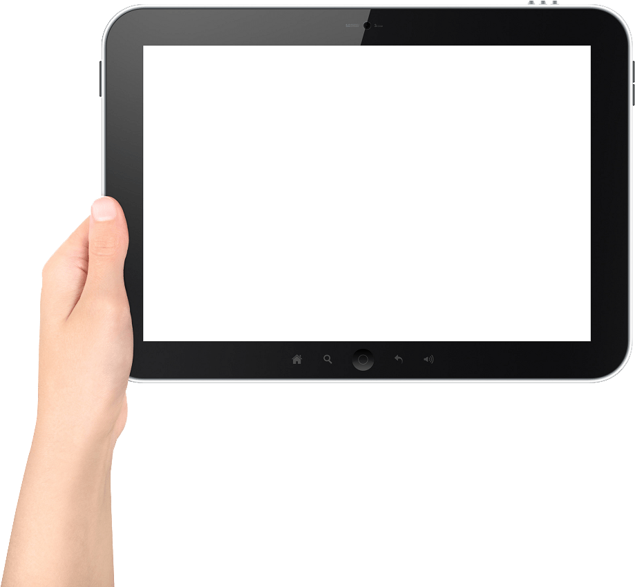 hand holding ipad png transparent