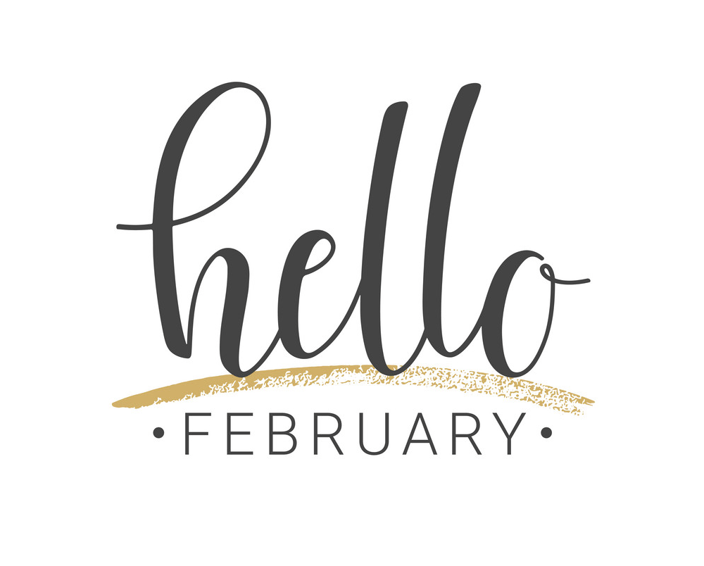 handwritten lettering of hello february png