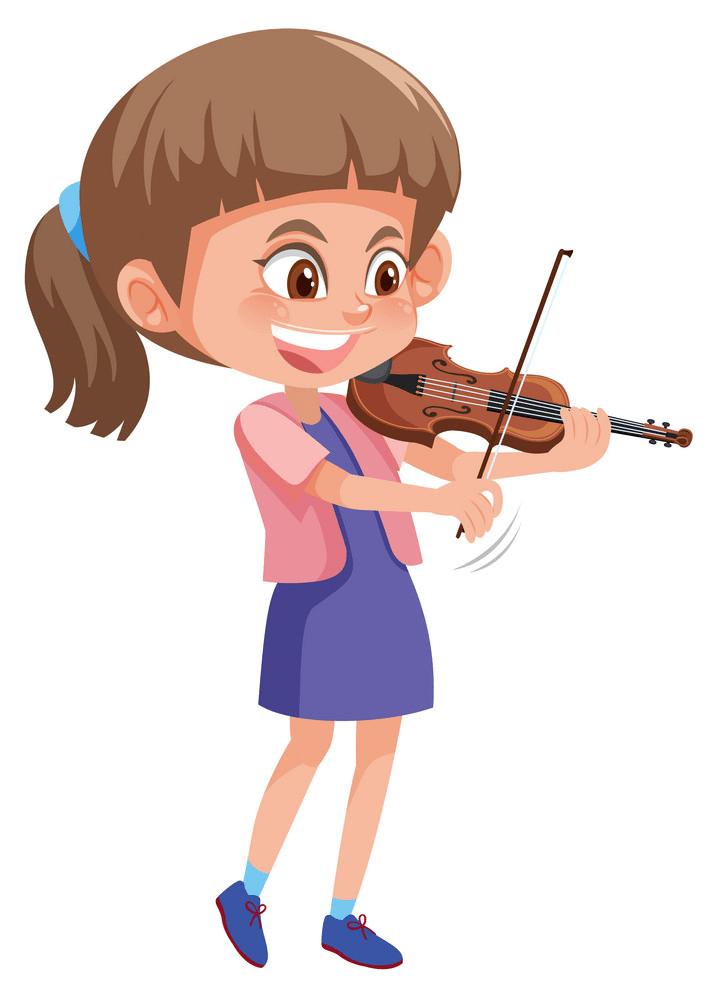 happy girl playing violin png