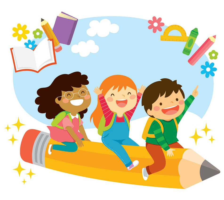 happy kids on flying pencil png