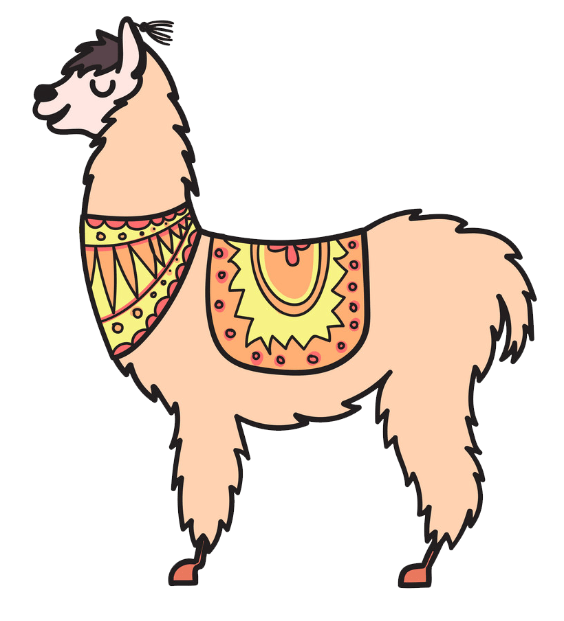 isolated outline llama png transparent