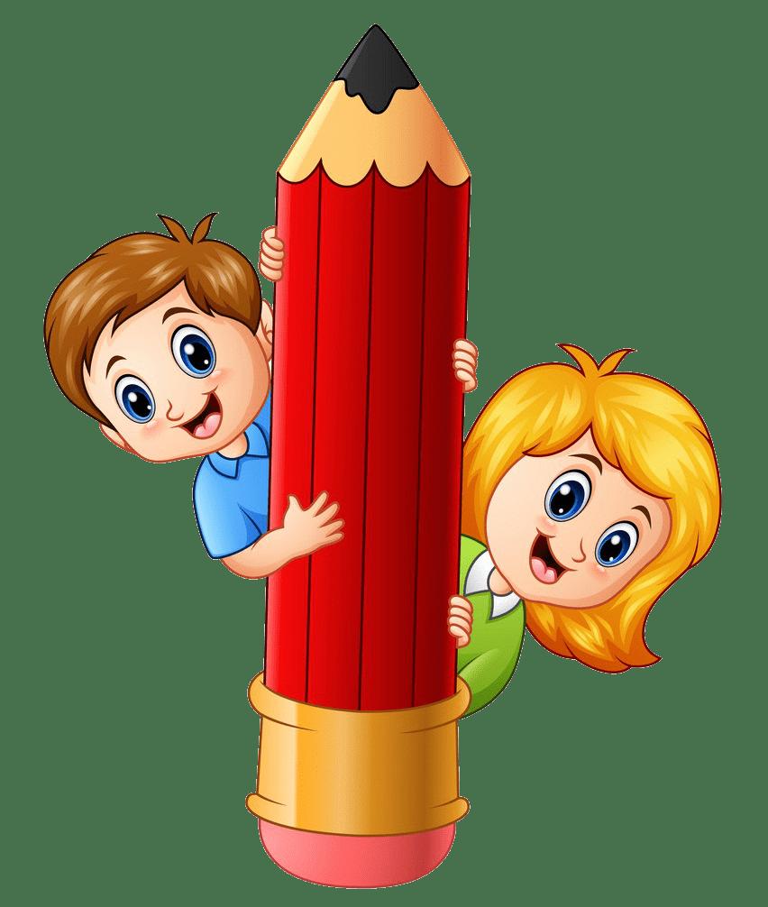 kids holding a big pencil png transparent