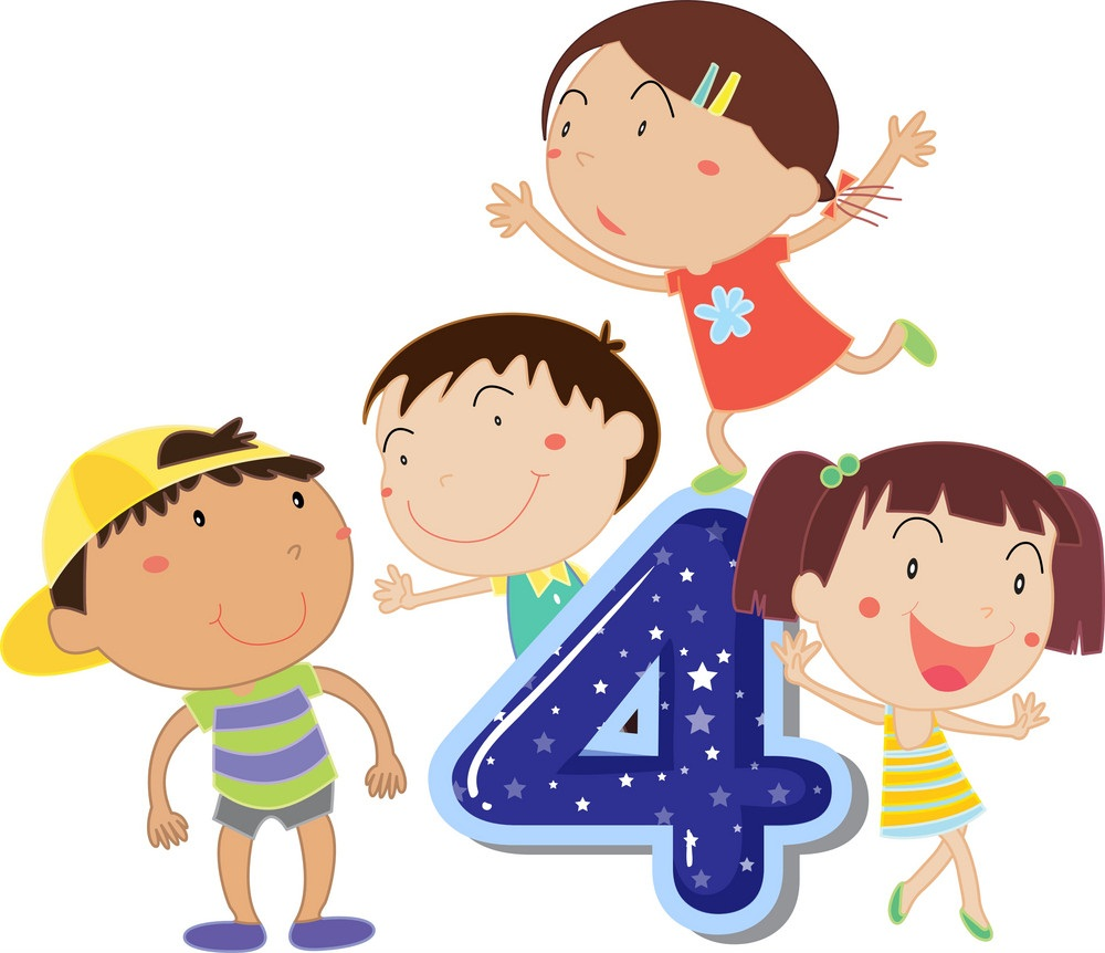 kids with number 4