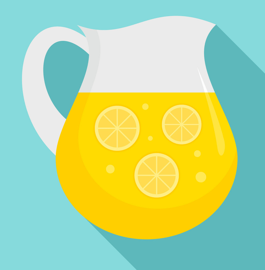 lemonade jug icon on blue background png