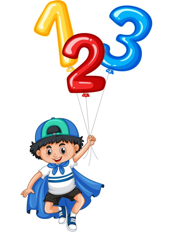 little boy and balloon numbers png